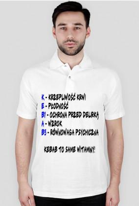 Koszulka polo męska biała Kebab to same witaminy