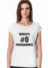 Koszulka damska idealna na prezent dla informatyka programisty, na mikołajki, pod choinkę, na urodziny - World's #0 programmer