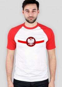 Koszulka FLAGA+ORZEŁ z czerwonymi ramionami