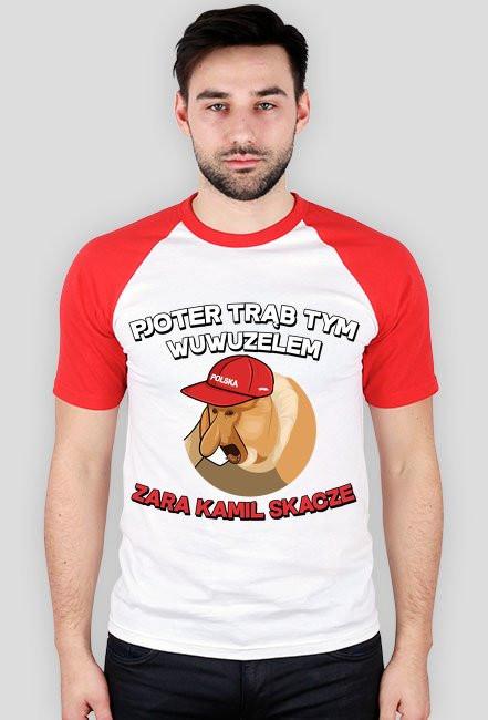 Pjoter trąb tym wuwuzelem - koszulka biało czerwona