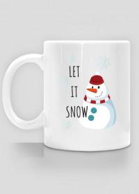 ŚWIĄTECZNY KUBEK Z BAŁWANKIEM - LET IT SNOW