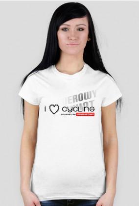 """Koszulka Rowerzystki """"I LOVE CYCLING 2019"""" Jasne Kolory"""