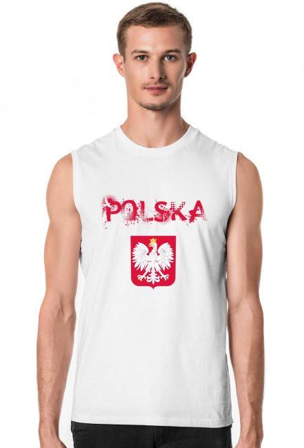 Koszulka POLSKA z krótkim rękawem biała męska