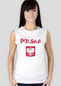 Koszulka POLSKA z krótkim rękawem biała damska