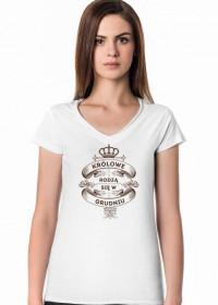 Koszulka V-neck Królowe rodzą się w Grudniu
