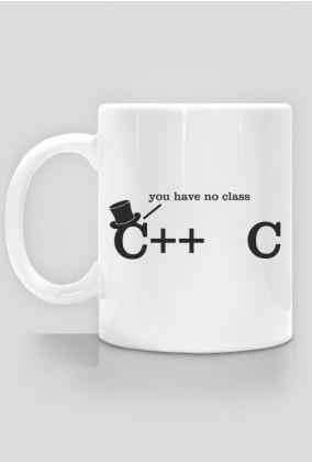 Tani kubek dobry na śmieszny prezent dla informatyka, programisty, pod choinkę, na mikołajki, na urodziny - C++, C you have no class