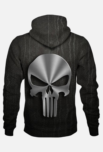 BLUZA Z KAPTUREM PUNISHER BLACK FULLPRINT