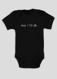 max 100 decybeli - czarne body niemowlęce