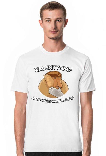 Walentynki? Ja to wolę walić drinki - koszulka męska dla singla