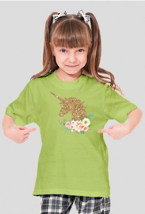 Koszulka z jednorożcem dla dziewczynki - Koszulka ze złotym jednorożcem