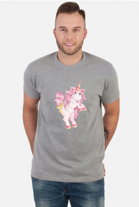 Koszulka z jednorożcem dla mężczyzny - Różowy jendorożec