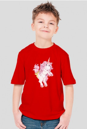 Koszulka z jednorożcem chłopiec - Różowy jednorożec