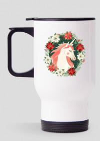 Kubek termiczny z jednorożcem - Jednorożec w kwiatach