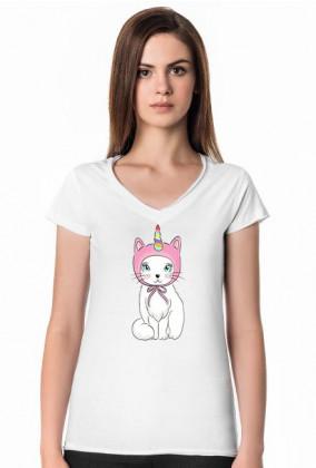 Koszulka damska z dekoltem z jednorożcem-kotem