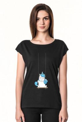 Koszulka z jednorożcem na huśtawce