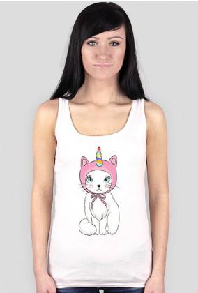 Podkoszulek damski z jednorożcem-kotem