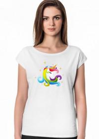 Modne t-shirty damskie - T-shirt Głowa jednorożec
