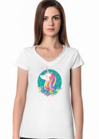 Designerskie t-shirty - T-shirt z jednorożcem w okręgu