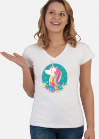 Koszulki damskie modne - Jednorożec w okręgu