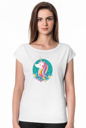 Biały t-shirt damski - Jednorożec w okręgu