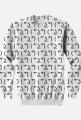 Biała bluza bez kaptura Fullprint, dobra na tani prezent dla informatyka, programisty, geeka, nerda, pod choinkę, na urodziny, na mikołajki - Lenny Face
