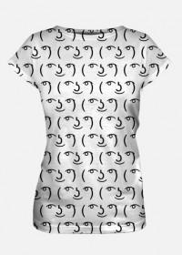 Biała koszulka damska Fullprint, dobra na tani prezent dla informatyka, programisty, nerda, geeka, na urodziny, pod choinkę, na mikołajki - Lenny Face