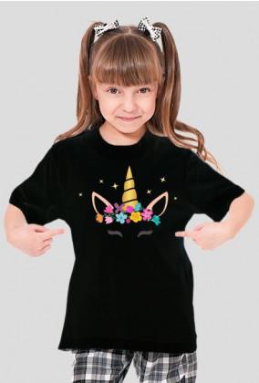 Koszulki z nadrukiem dla dzieci - Jednorożec ze złotym rogiem