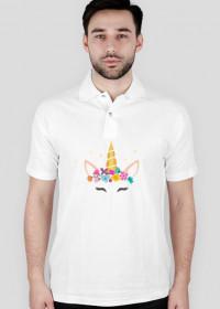Super koszulka polo z jednorożcem ze złotym rogiem