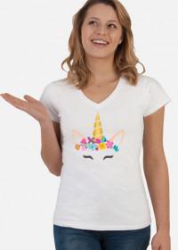 Stylowe t-shirty - Jednorożec ze złotym rogiem