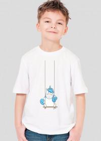 Koszulki dla dzieci - Jednorożec na huśtawce - chłopięca