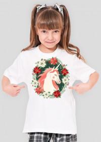 Koszulki modne dziecięce - Jednorożec w kwiatach - dziewczęca