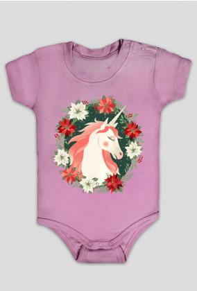 Ciuszki dla niemowlaka - Body jednorożec w kwiatach