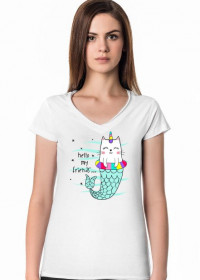 KOSZULKA DAMSKA V-NECK CAT HELLO MY FRIENDS