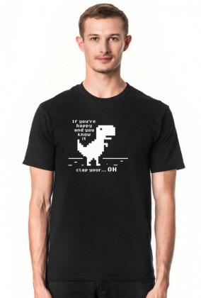 Koszulka męska ciemno niebieska z Dinozaurem z przeglądarki Chrome, dobra na prezent dla chłopaka programisty, informatyka, geeka, nerda na urodziny, na mikołajki, pod choinkę, na walentynki