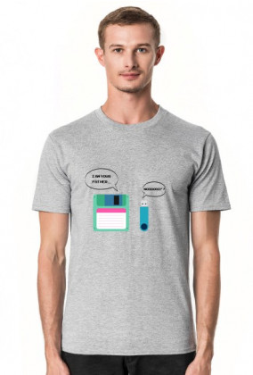 """Męski T-shirt ciekawy pomysł na śmieszny prezent dla programisty, informatyka - Floppy Disk, Pendrive """"I am your Father"""","""" Nooo!!"""""""