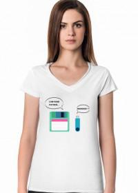 Damska koszulka z motywem z Gwiezdnych Wojen, pomysł na tani i praktyczny prezent dla programistki - Floppy Disk (Dyskietka), Pendrive - I am your father... Nooooo!!!