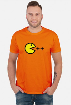 T-shirt atrakcyjny i tani pomysł na ciekawy prezent dla chłopaka, dziewczyny programisty, pod choinkę, na walentynki - Pacman C ++
