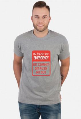 Praktyczny i tani prezent dla programisty - Koszulka, In case of emergency Github, Git Commit, Git Push, Git Out
