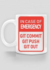 Śmieszny kubek, dowcipny i praktyczny prezent dla programisty -  In case of emergency, GitHub, Git Commit, Git Push, Git Out