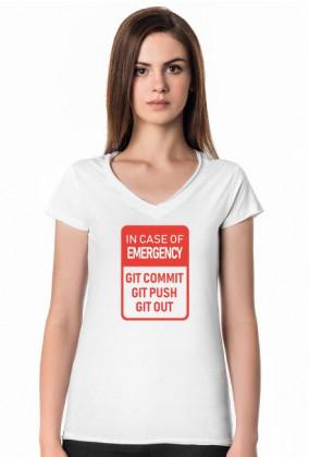 Śmieszny prezent dla dziewczyny, programistki - Koszulka In case of emergency, Git Hub, Git Commit, Git Push, Git Out