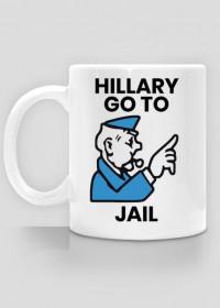 Śmieszny kubek, polityczna parodia - Hillary go to Jail