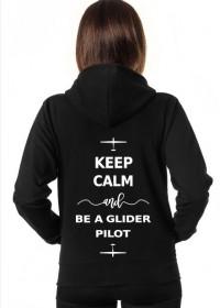 Bluza damska z kapturem, biały napis, Keep calm and be a glider pilot