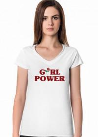 T-SHIRT Z DEKOLTEM W SEREK GIRL POWER