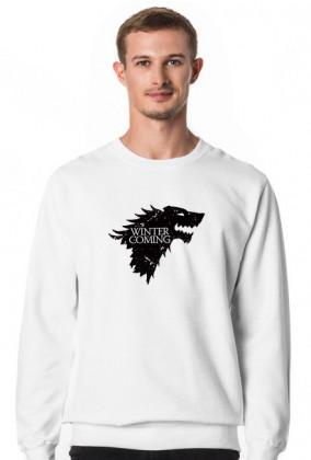 Wolf Winter is coming Gra o tron bluza męska biała