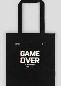 Pixel Art - Game Over Play again Yes/No - styl retro - glitch - 8 bit - grafika inspirowana grą Minecraft - torba