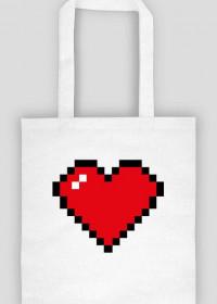 Pixel Art - Czerwone Serce - styl retro - 8 bit - inspirowane starą grafiką, taką jaka występuje w grze Minecraft - torba