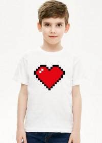 Pixel Art - Czerwone Serce - styl retro - 8 bit - inspirowane starą grafiką, taką jaka występuje w grze Minecraft - chłopiec koszulka