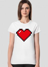 Pixel Art - Czerwone Serce - styl retro - 8 bit - inspirowane starą grafiką, taką jaka występuje w grze Minecraft - damska koszulka