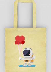 Pixel Art - astronauta z balonami - styl retro - 8 bit - grafika inspirowana grą Minecraft - torba