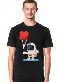 Pixel Art - astronauta z balonami - styl retro - 8 bit - grafika inspirowana grą Minecraft - męska koszulka
